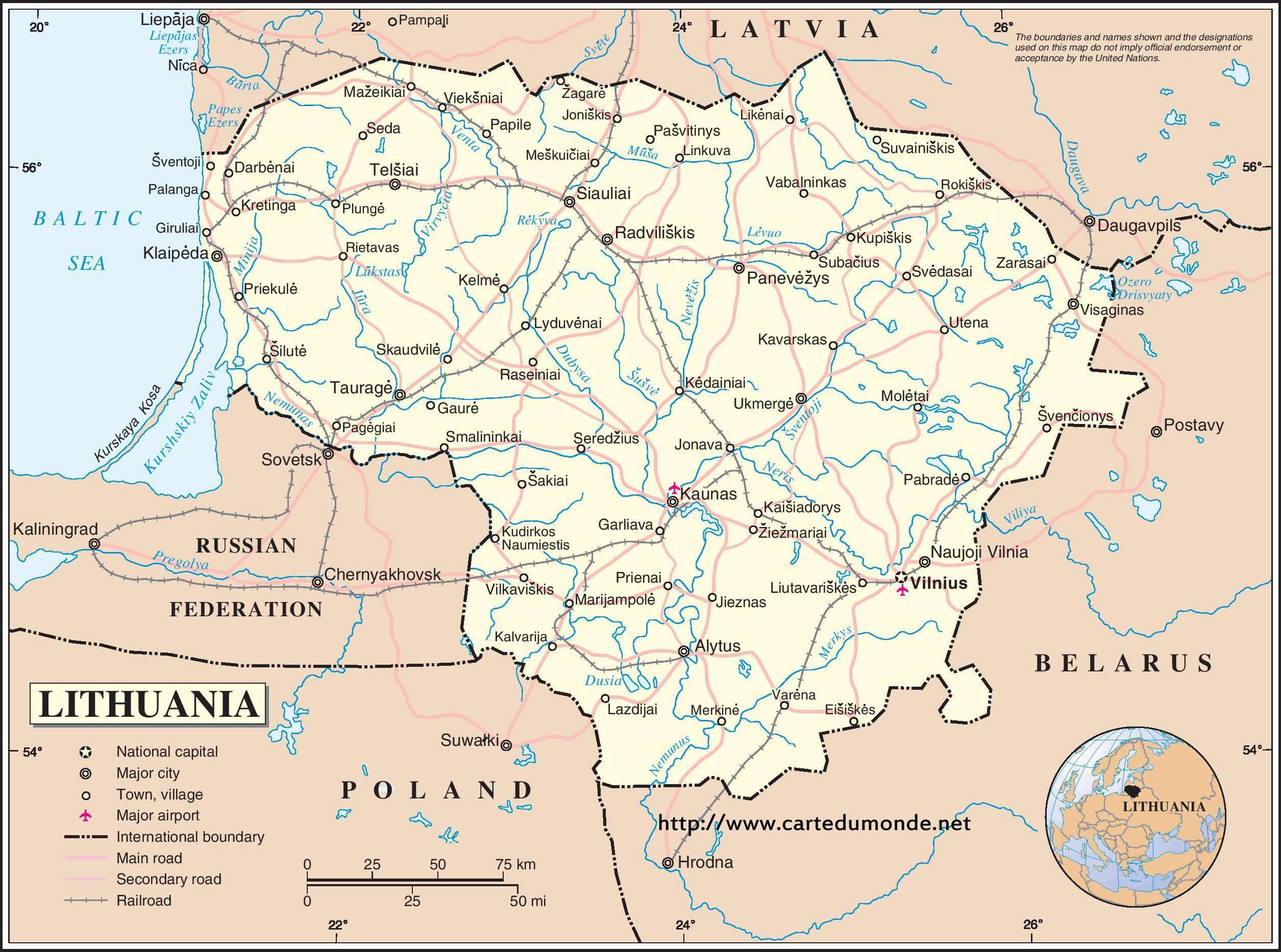 litauen kart Litauen landet kart   Kart over Litauen landet (Nord Europa   Europa) litauen kart